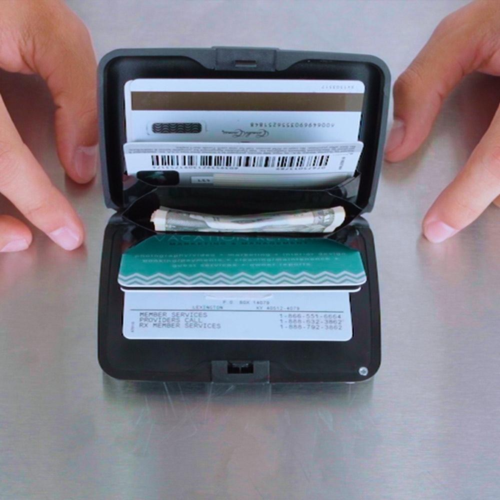 Card Guard Power Wallet Herren  schwarz Geldbörse inkl Ladekabel